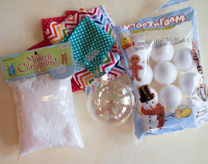you will need clear ornaments foam balls that are smaller than the glass ornament fake snow and scrap fabric i found those all at hobby lobby