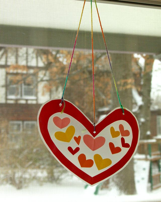 valentine's window art